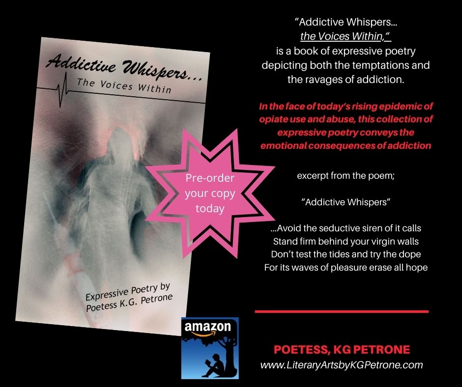 Addictive Whispers... The Voices Within is a book of expressive poetry depicting both the temptations and the ravages of addiction.